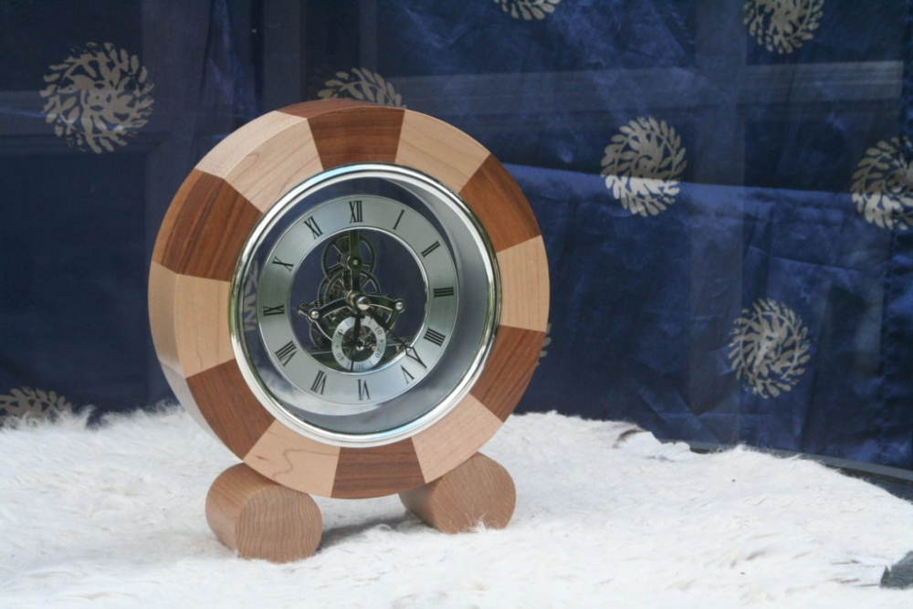 Clock with wooden surround