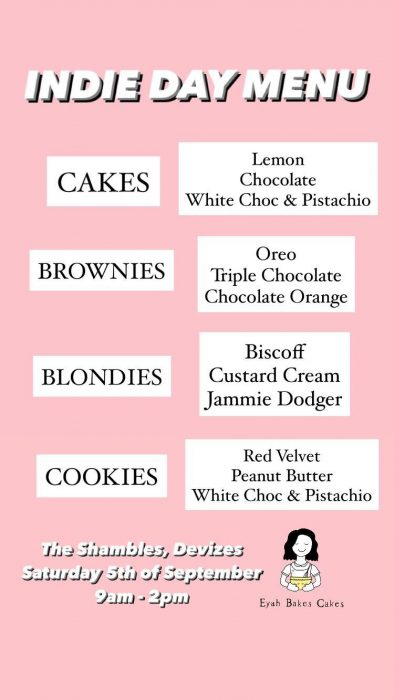 Eyah Bakes Cakes - list of products