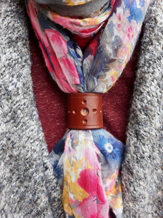 Leather scarf-holder
