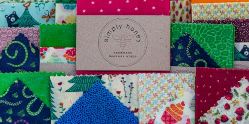 Simply Honey beeswax wraps displayed on stall